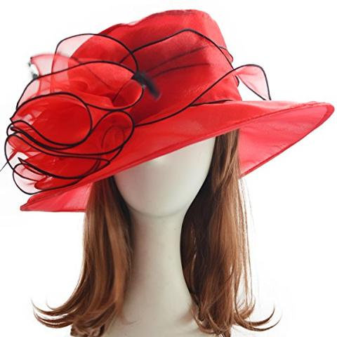 Fanny - Lady Church Derby Kentucky Formal Event Plume Organza Hat Sm055 (red)