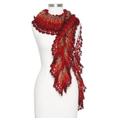 Alexander Dobell - Women's Loose Knit Ombre Ruffle Scarf - Red