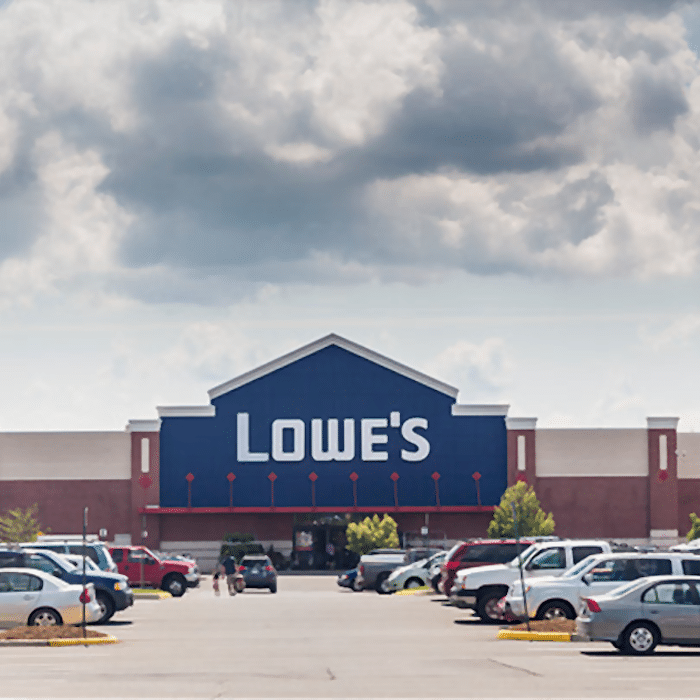 The front of Lowe's Home Improvement Store and parking lot