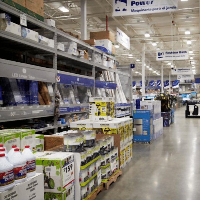 An aisle of sale items in a Lowe's improvement store
