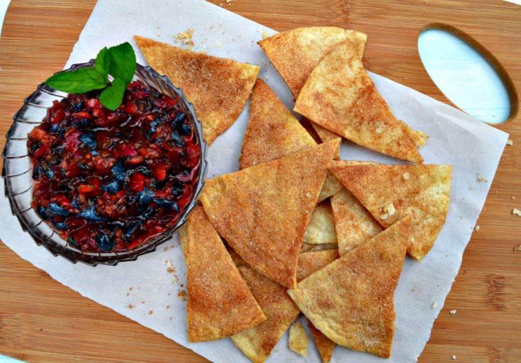 Farmers Market Blueberry Cherry Salsa with Cinnamon Sugar Tortillas