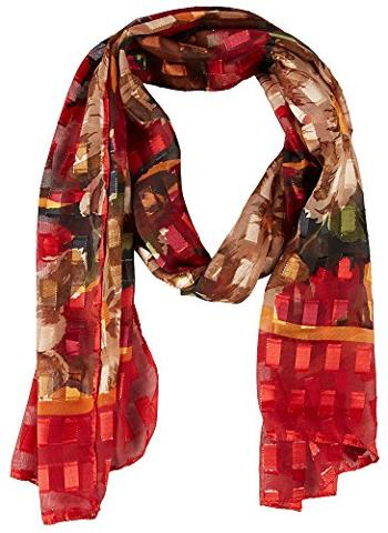 Bay Studio - Womens Lurex Red Floral Print Scarf-One Size, Red