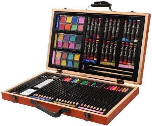 Darice - Color Pencils Oil Paint Water Colors Paint Brushes Drawing Pencils 80-Pc Art Set