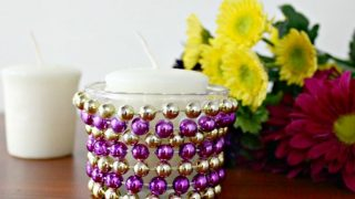 Upcycled Candle Holders | Mardi Gras Candle Holder