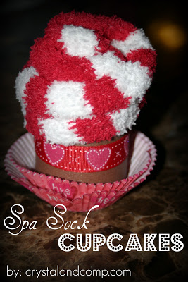 How to Make a Cupcake using Spa Socks- An Affordable Valentine's Day Gift