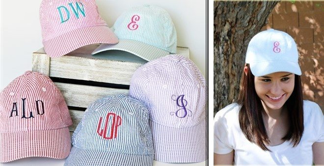 Initial or Monogram Seersucker Cap - Was $19.99 - Now $12.99