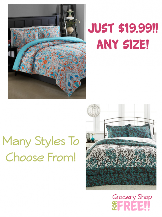 3 Pc Comforter Set - Any Size Only $19.99!  Many To Choose From!