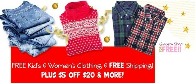 FREE Kid's & Women's Clothing & FREE Shipping!  PLUS $5 Off $20 & MORE!