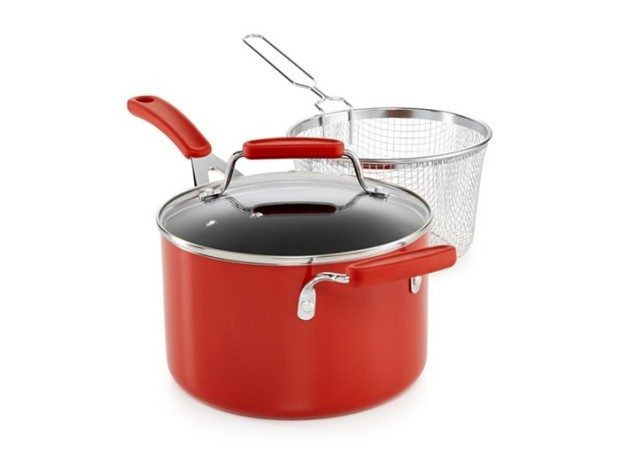 Martha Stewart Collection Cookware Plus 4-Qt. Covered Saucepan with Fryer Basket