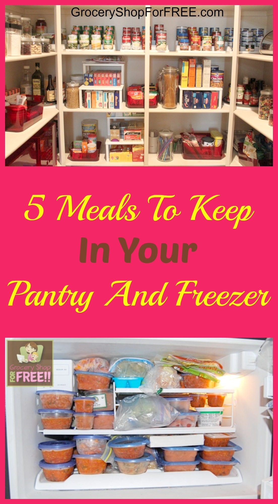 Do you ever have those weeks when life just happens? Boy, we do! Even the best of menu plans can't possibly account for times when life throws a curve ball.  You can save yourself a lot of trouble when that happens with these 5 Meals To Keep In Your Pantry And Freezer.