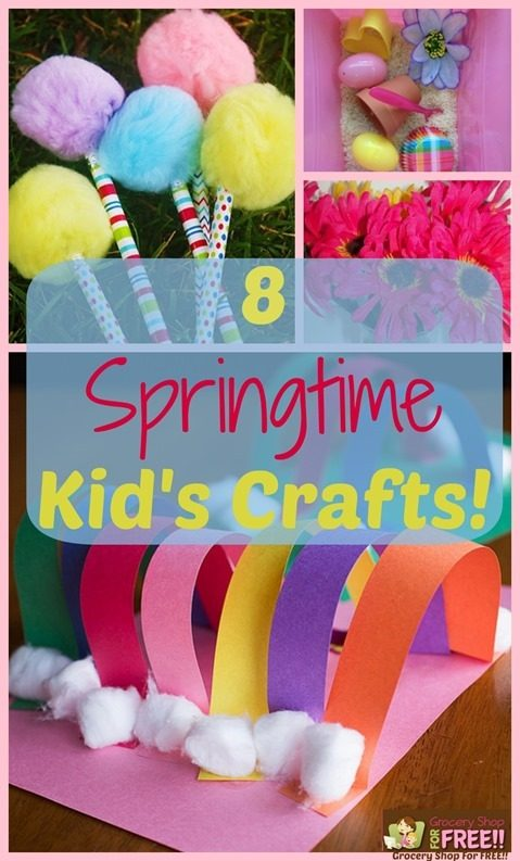 8 Springtime Kid's Crafts!  From printables to sensory bins to outside activity crafts, we have you covered!  You'll have them giggling and having a great day in no time with these fun and easy crafts!