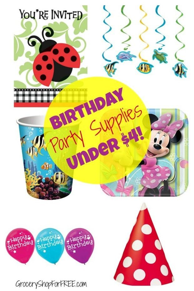 Birthday Party Supplies Under $4 pin