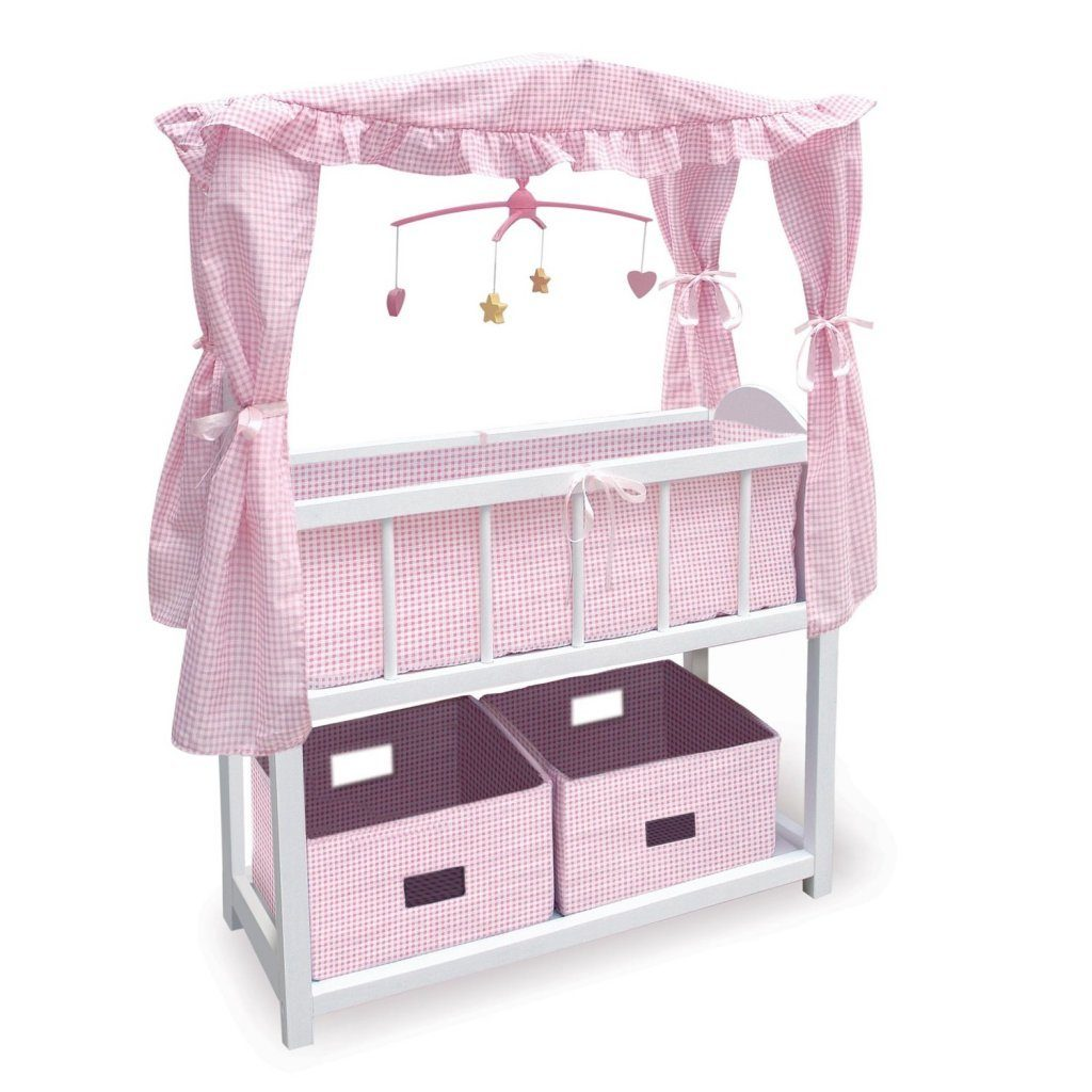 Canopy Doll Crib With Baskets Bedding And Mobile