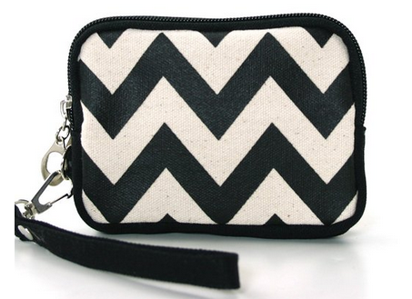 Canvas Chevron Print Wristlet