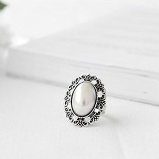 Carved Flower Imitation Pearl Adjustable Stretch Ring