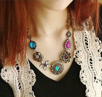 Crystal Flowers Bib Statement Necklace Just $3.33 SHIPPED!