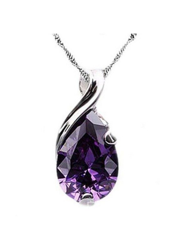 Crystal Teardrop Amethyst Pendant Just $3.88 + FREE Shipping!