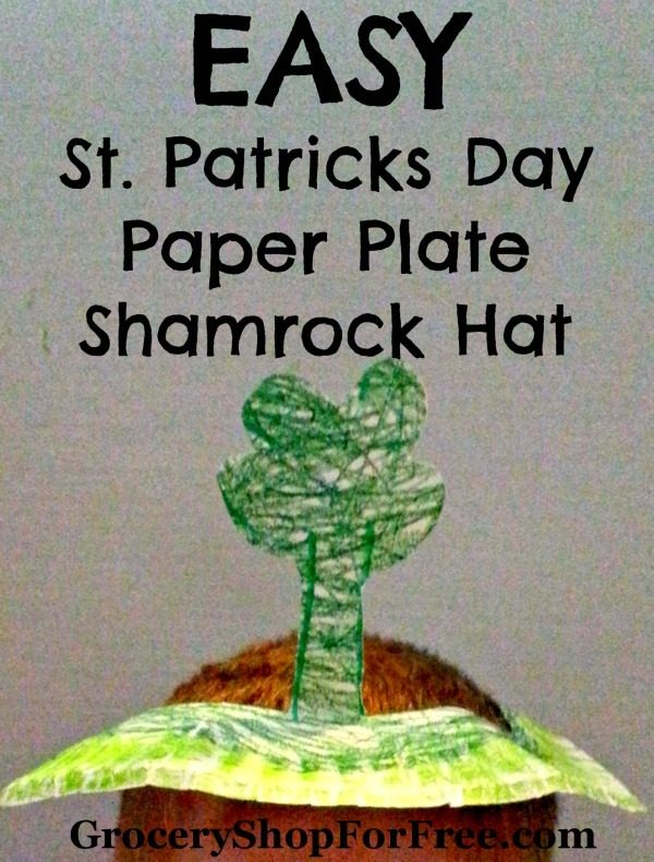 Easy Kid's Craft St. Patricks Day Paper Plate Shamrock Hat!