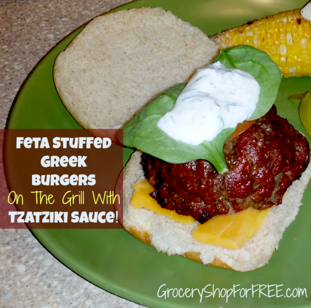 Feta Stuffed Greek Burgers On The Grill With Tzatzike Sauce!