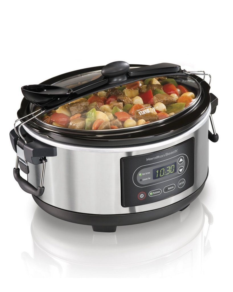 Hamilton Beach Programmable Stay or Go Slow Cooker, 5-Quart, Silver