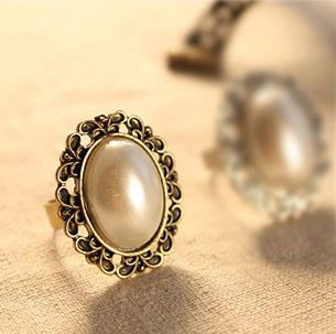 Imitation Pearl Adjustable Stretch Ring Only $1.85 + FREE Shipping!