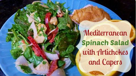 Mediterranean Spinach Salad with Artichokes and Capers!