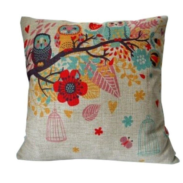 Decorative Pillow Cover - Owls with Birdcage Just $3.89 + FREE Shipping!