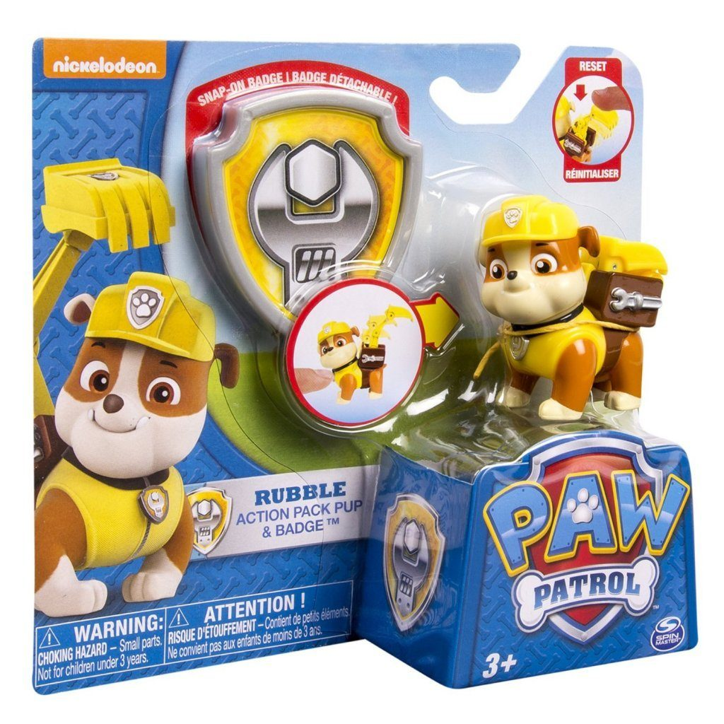 Paw Patrol - Action Pack Pup & Badge - Rubble