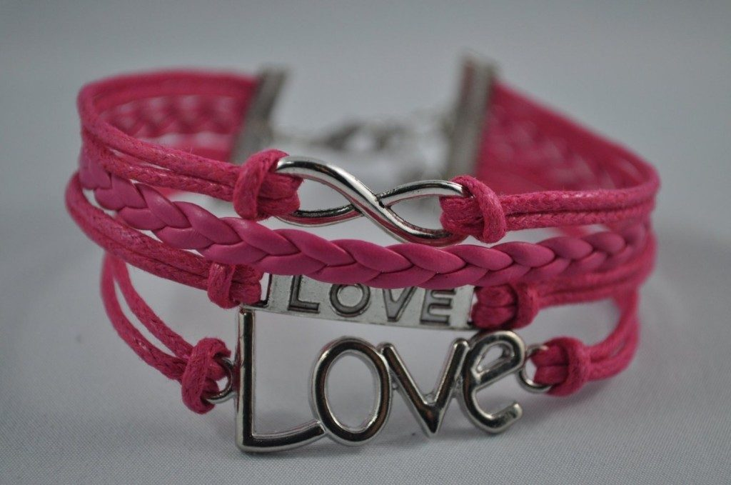 Pink Love-Infinity Leather Rope Bracelet Only $2.99 + FREE Shipping!