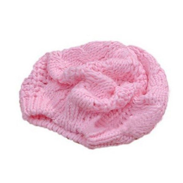 Pink Wool Chunky Knit Beanie Hat