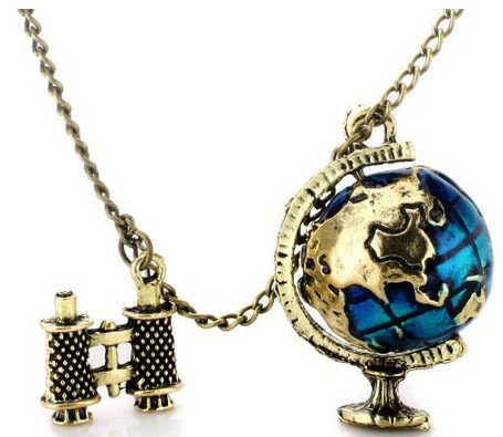 Retro Globe and Telescope Necklace