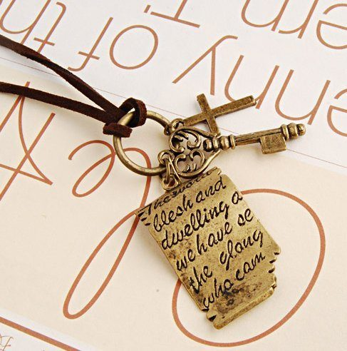 Shakespeare Love Letters Cross Key Pendant Leather Rope Necklace Just $3.44 + FREE Shipping!