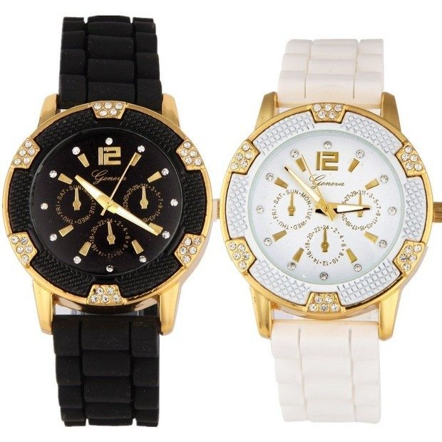 Rhinestone Faux Chronograph Silicone Watch 2-Pack Only $5.95 + FREE Shipping!