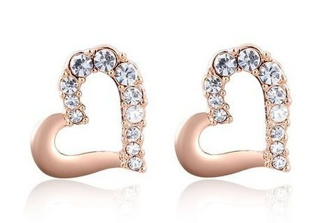 Rose Gold Plated Heart Rhinestone Earrings Only $4.42 + FREE Shipping!
