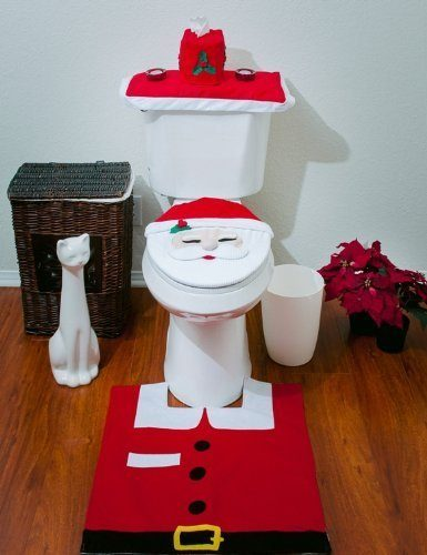 Santa Toilet Seat Cover and Rug Set Just $3.85 + FREE Shipping!