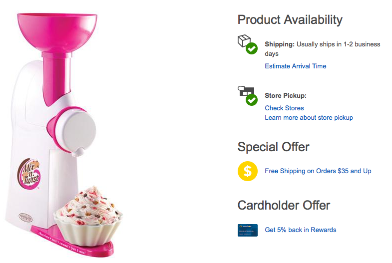 Nostalgia Electrics Mix 'n Twist Ice Cream & Toppings Mixer Only $14.99 + FREE Store Pick Up (Reg. $34.99)!