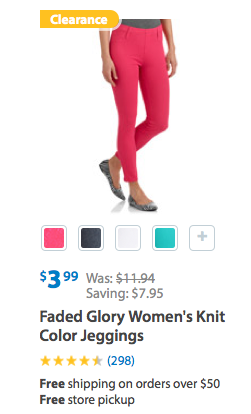 Faded Glory Women's Knit Color Jeggings On Clearance For $3.99 (Reg. $11.94)!