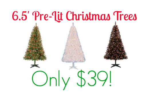 6.5' Pre-Lit Christmas Trees Only $39 + FREE Store Pick Up