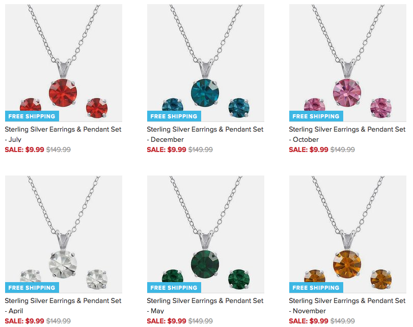 Gorgeous Birthstonetone Earring & Pendant Set Only $9.99 + FREE Shipping (Reg. $149.99)!