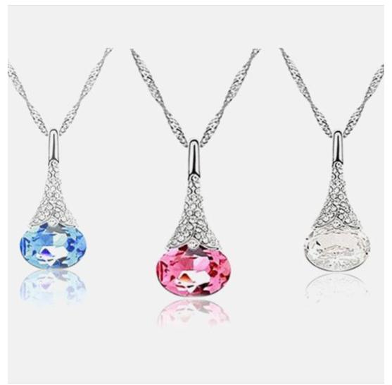 Austrian Crystal Water Drop Pendant Chain Necklace $5.99 SHIPPED (Reg. $90)!