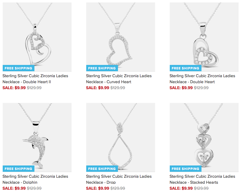 Sterling Silver Necklace Sale Hearts, Dolphins & More $9.99 + FREE Shipping (Reg. $130)!
