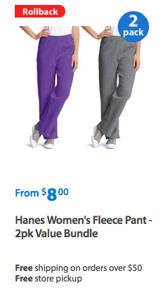 Hanes Women's Fleece Pant - 2pk Value Bundle Only $4 Each + FREE Store Pickup!