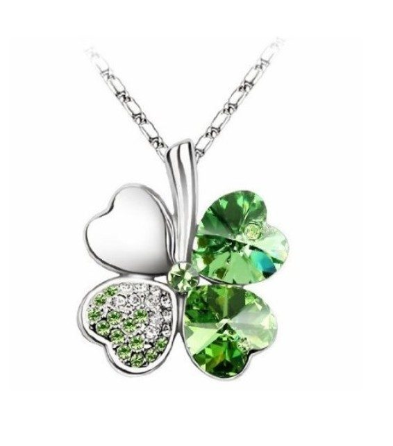 Swarovski Elements Crystal Four Leaf Clover Necklace ONLY $3.49 + FREE Shipping!