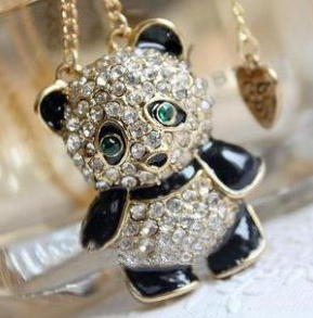 panda rhinestone necklace