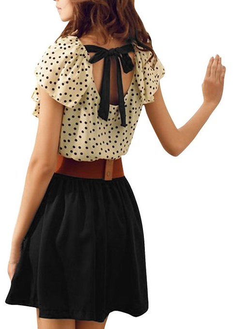 dot print dress with belt