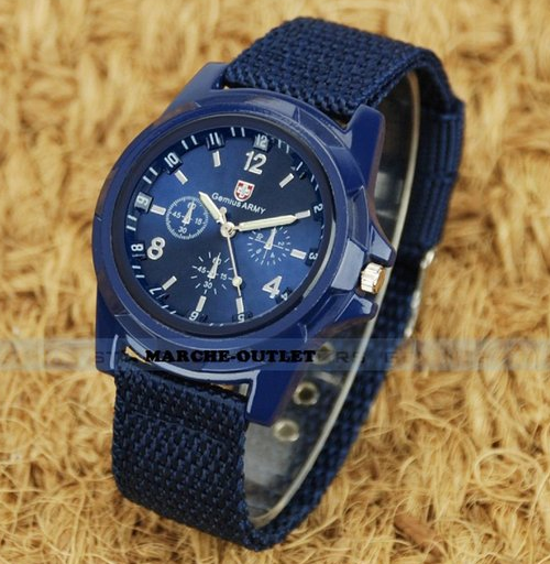 blue military style watch