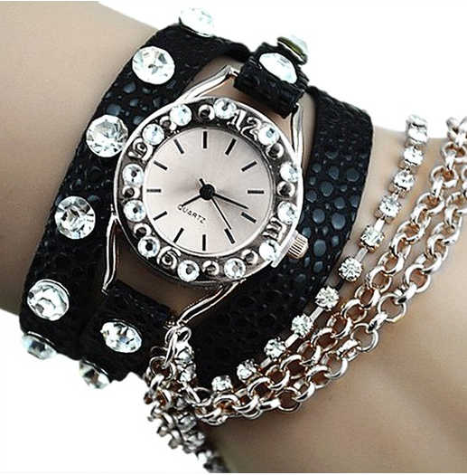 faux leather chain watch