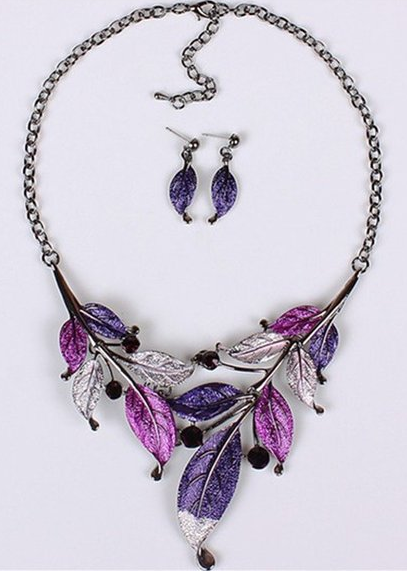 purple leaf necklace and earrings set