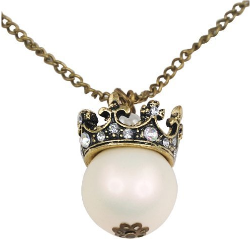 vintage pearl crown necklace