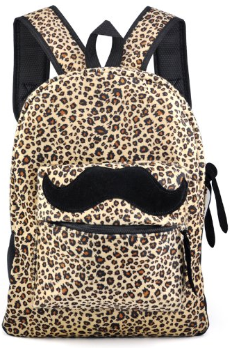mustache leopard print backpack